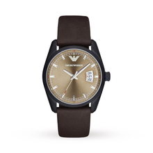Emporio Armani AR6081 Mens Tazio Dark Brown Leather Strap Watch