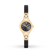 Emporio Armani AR7405 Women's Chiara Gold Black Leather Strap Necklace, Gold