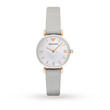 Emporio Armani AR1965 Women's Leather Strap Watch, Grey/Mother of Pearl