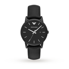 Emporio Armani Mens Classic Black Leather And Silicone Strap Watch AR1973