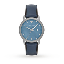 Emporio Armani Mens Classic Blue Leather And Silicone Strap Watch AR1972