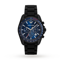 Emporio Armani Mens Sports Black Mixed Strap Watch AR6121