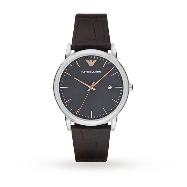 Emporio Armani Mens Dress Dark Brown Leather Strap Watch