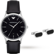 Emporio Armani Mens Dress Black Watch and Cufflinks Gift Set
