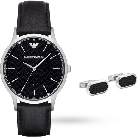 For Him - Emporio Armani Mens Dress Black Watch and Cufflinks Gift Set - AR8035