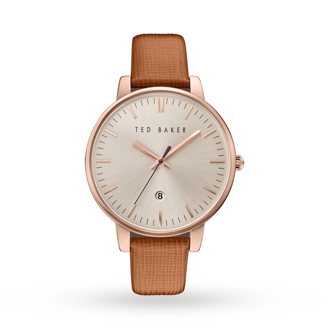 Ted Baker Saffiano Leather Strap Watch