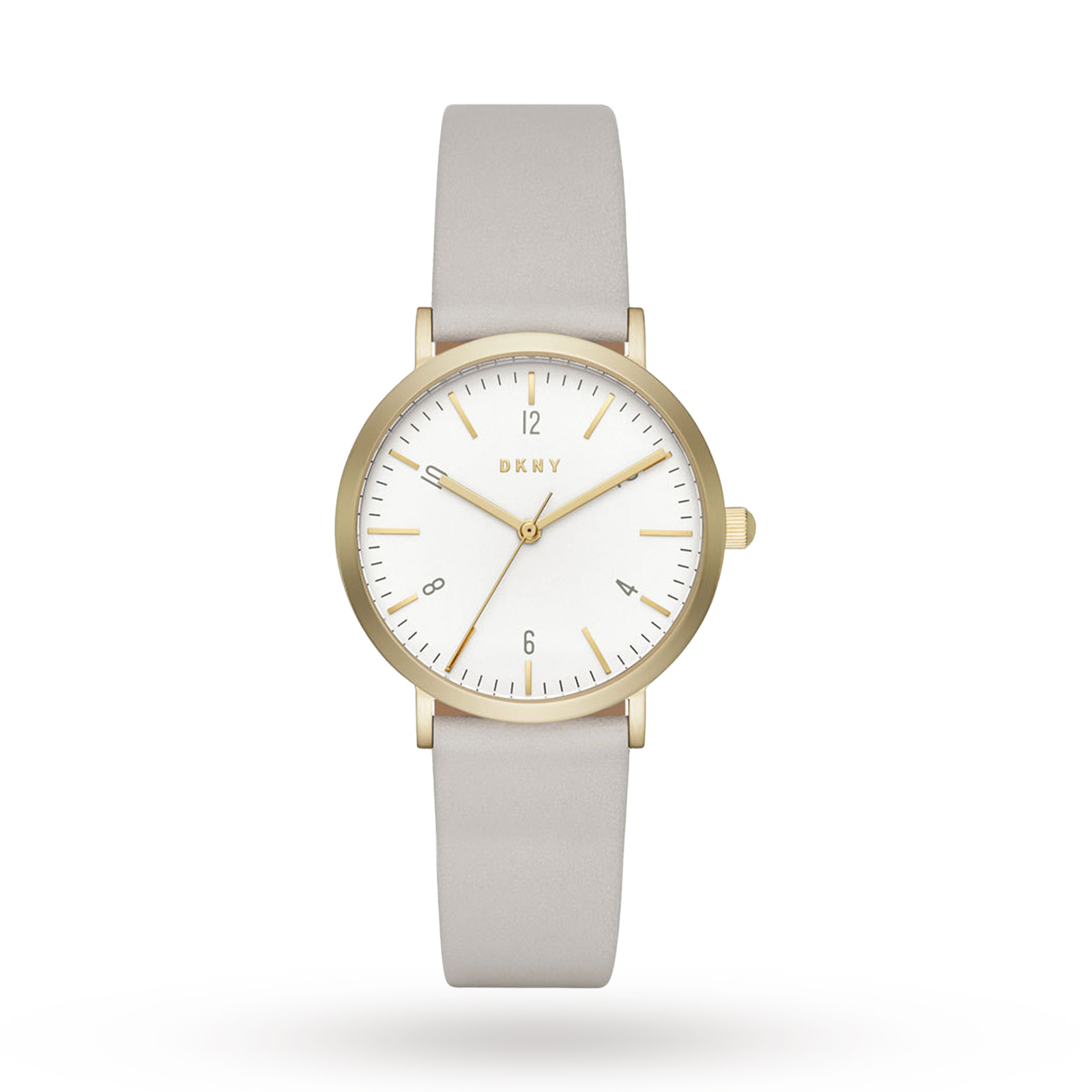 DKNY Minetta Gold-Tone and Plaster Leather Three-Hand Watch