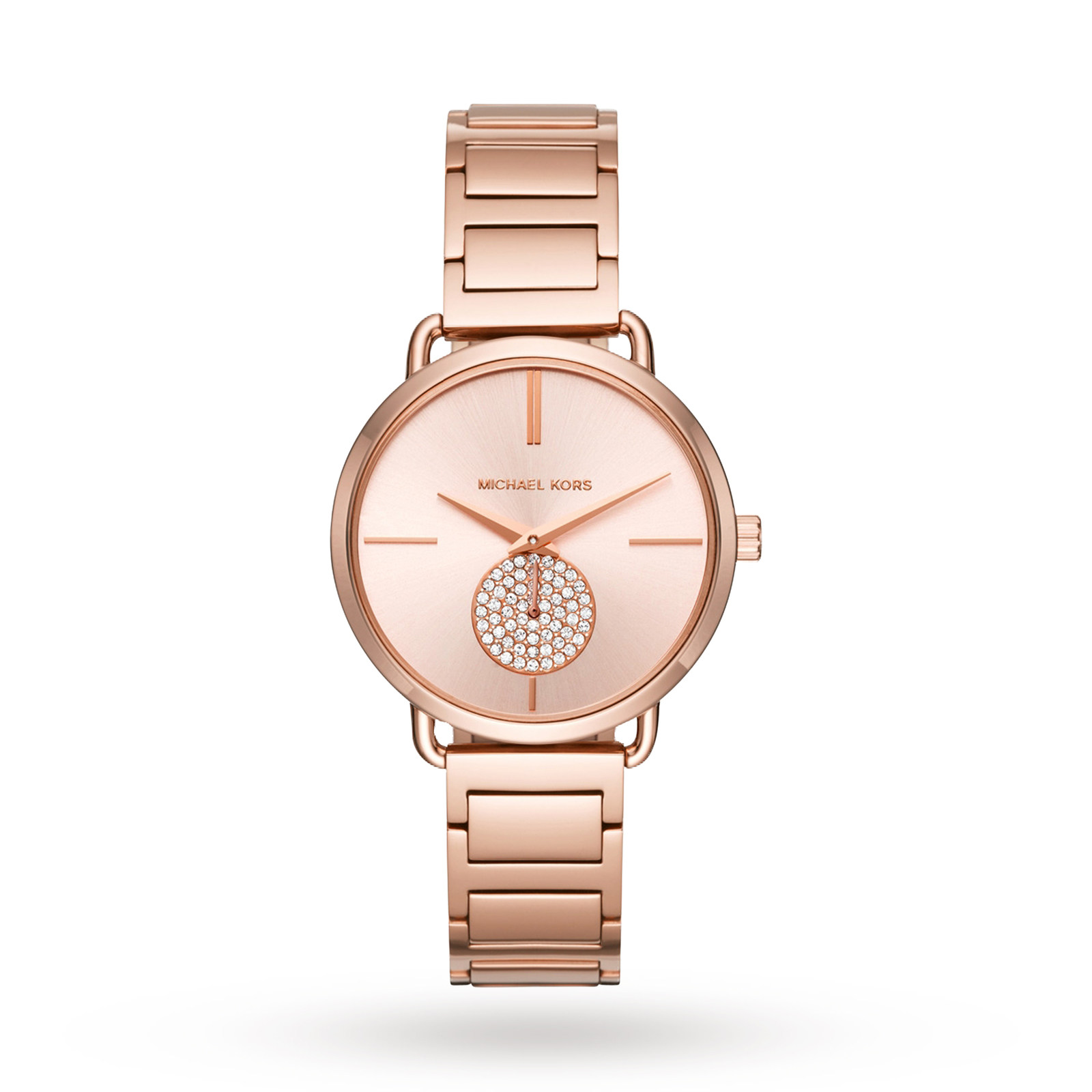 Michael Kors Ladies Portia Rose Gold Plated Bracelet Watch