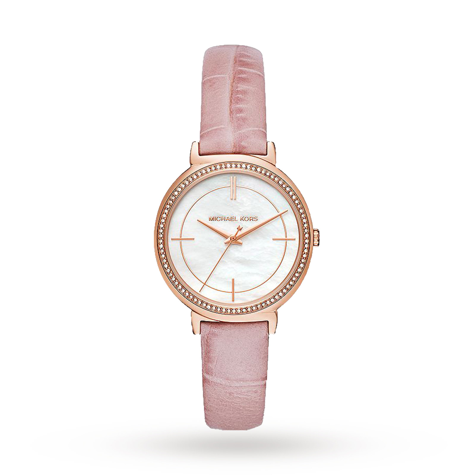 Michael Cinthia Rose Gold-Tone and Blush Leather Three-Hand