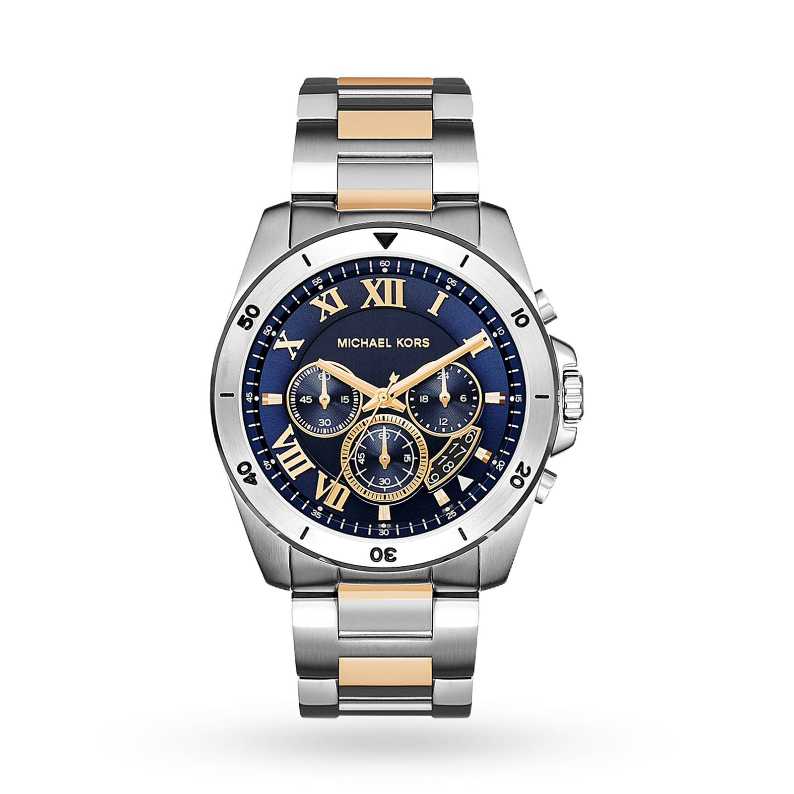 Michael Kors Brecken Chronograph Blue Dial Two-tone Men's Watch