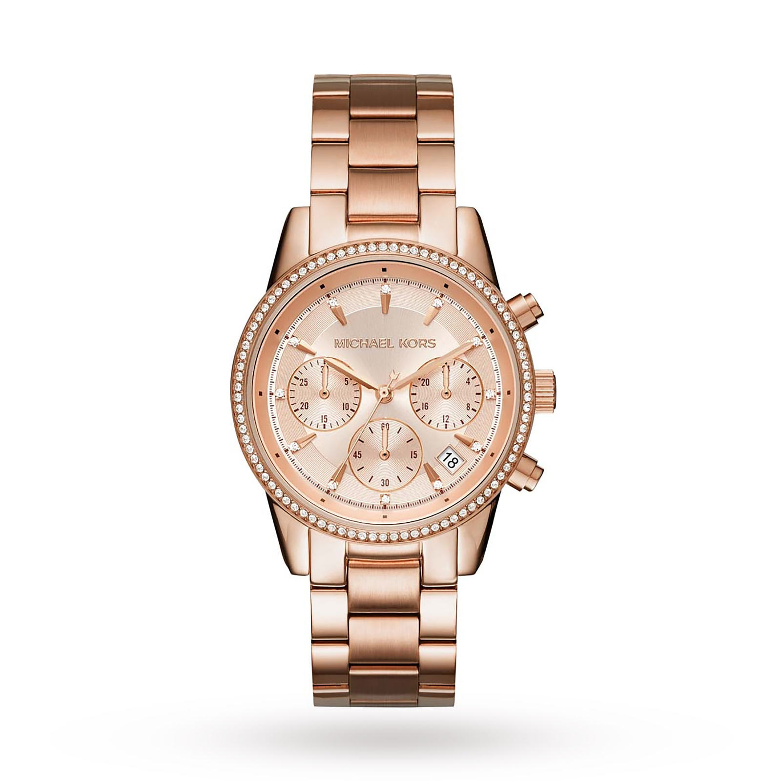 Michael Kors Ladies Ritz Rose Gold Plated Chronograph Watch
