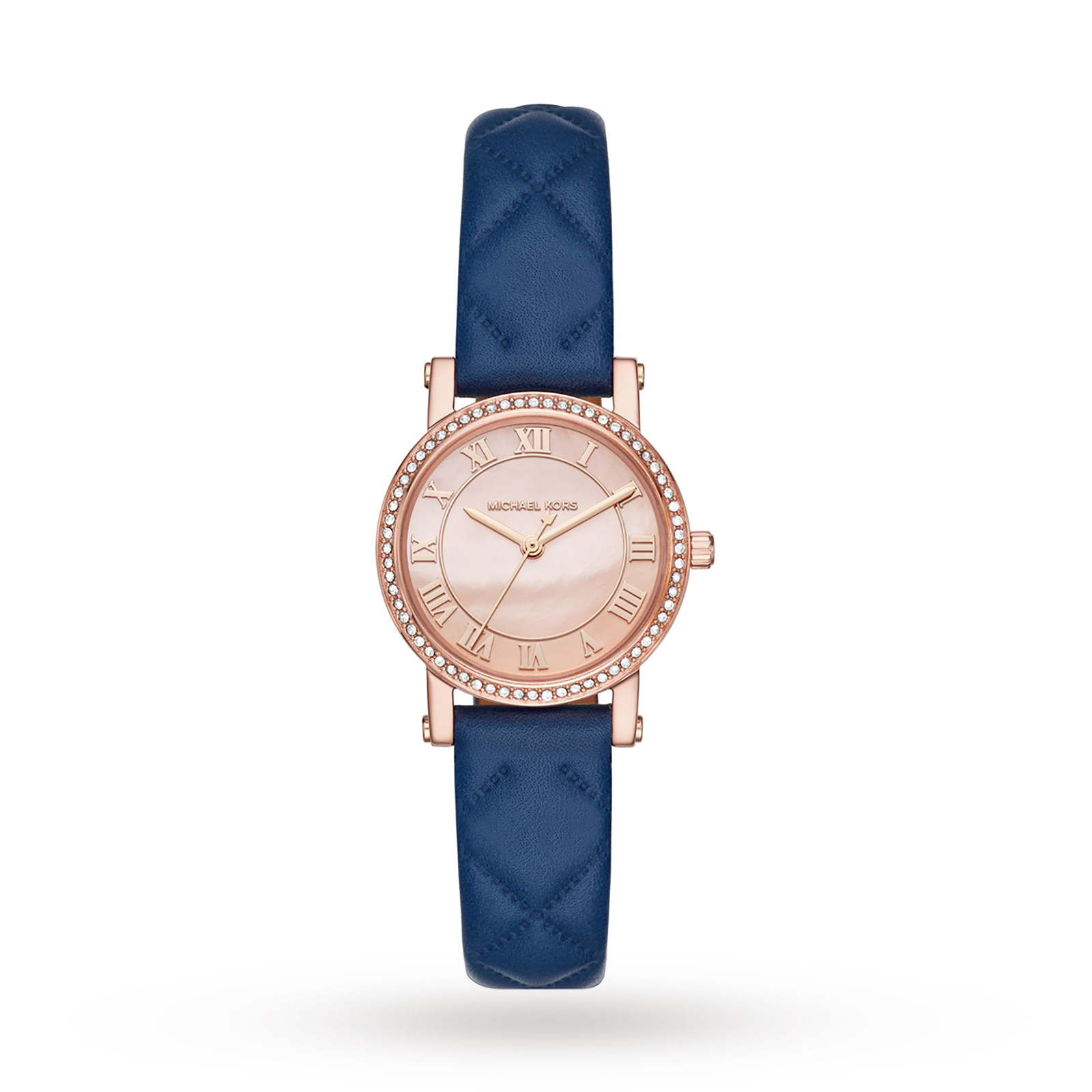 Michael Kors Rose Gold-Tone and Blue Leather Three-Hand Watch