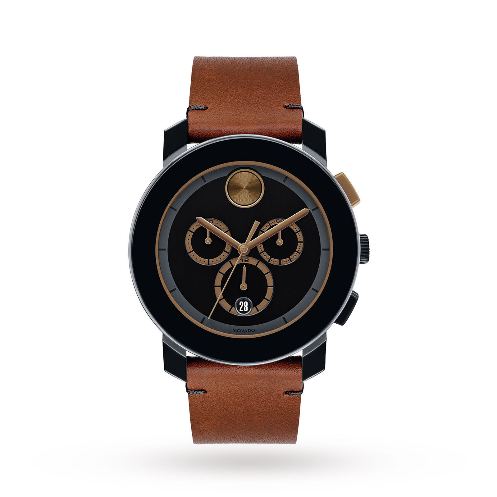 Movado Cognac Leather Mens Watch