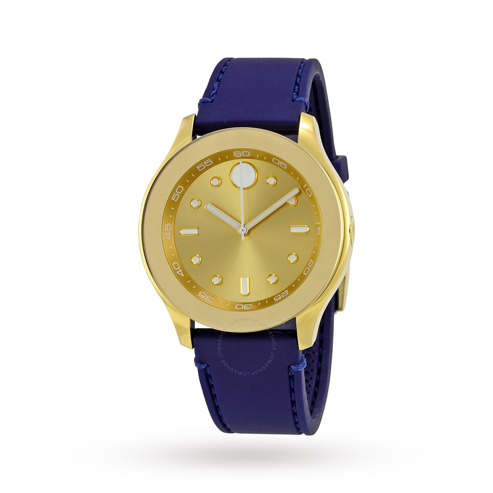 Movado Bold Gold-Tone Dial Blue Silicone Ladies Watch.