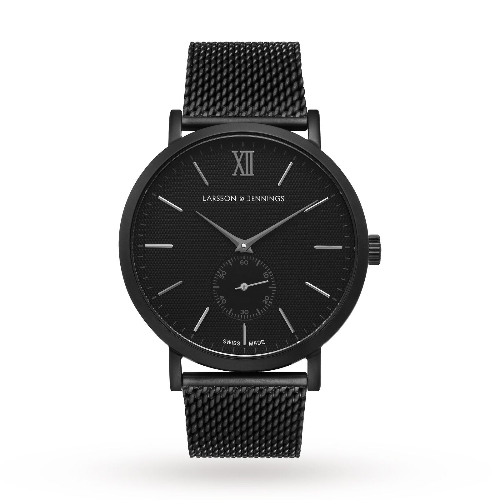 Larsson & Jennings Unisex Lugano 40mm Black Mesh Watch