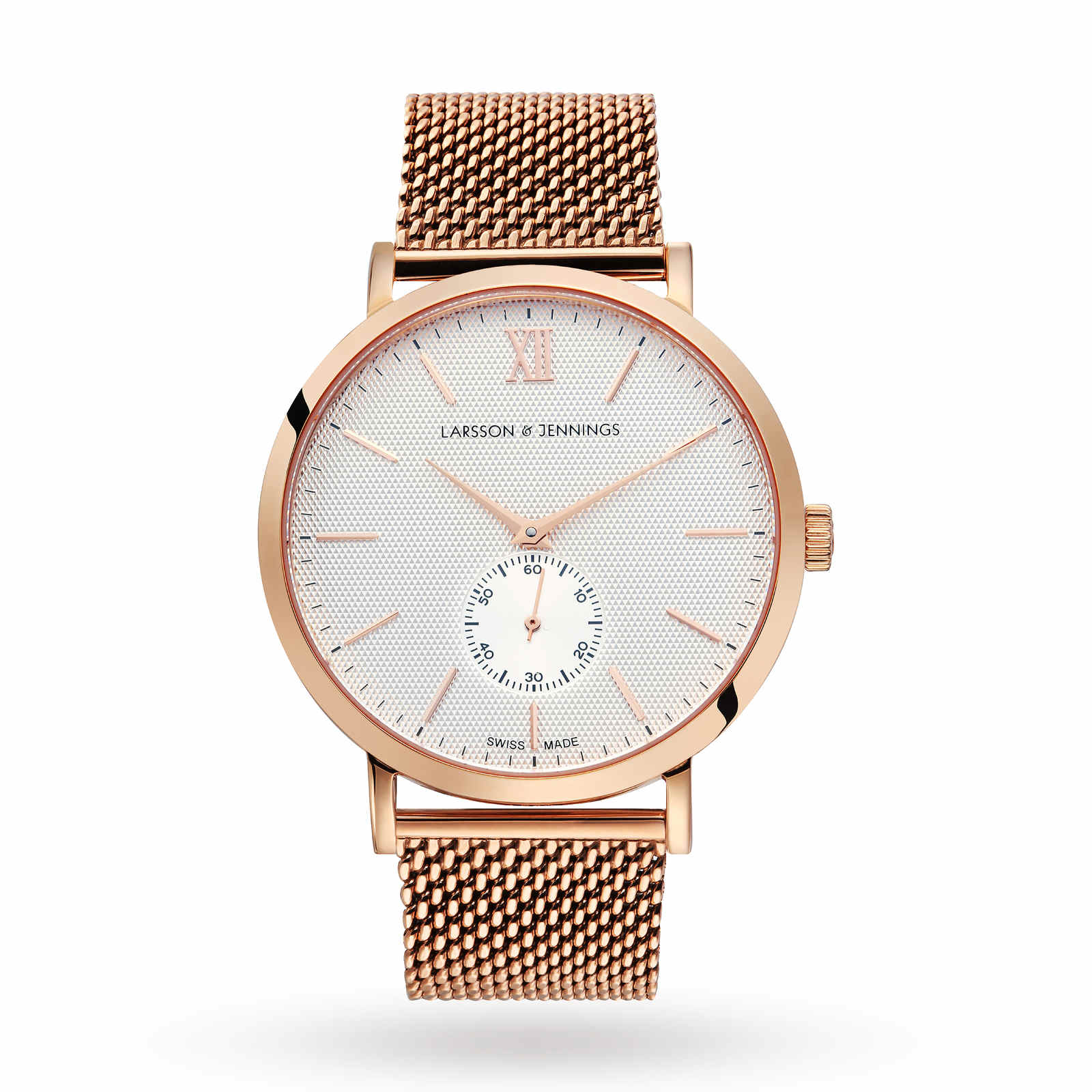 Larsson & Jennings Lugano 40mm Mechanical, Unisex Rose Gold Mesh Watch