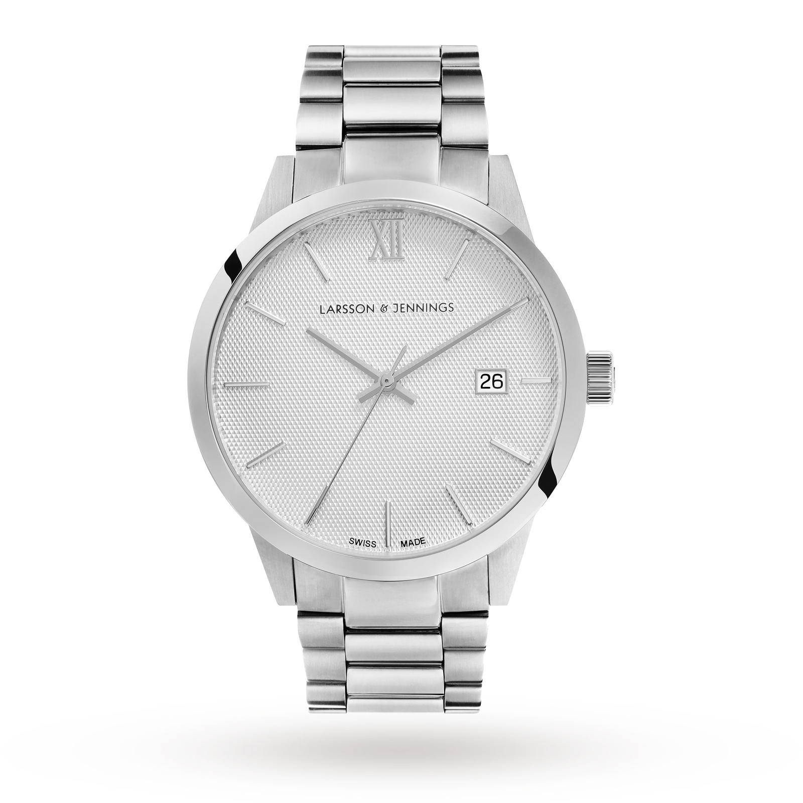Larsson & Jennings Saxon 39mm Mechanical, Unisex Silver Watch
