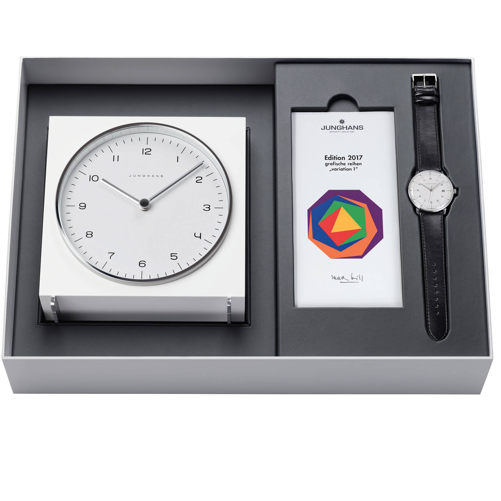 Junghans Men's Max Bill 2017 Edition Clock Gift Set Alarm