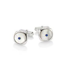 Albany sterling silver, mother of pearl and sapphire cufflinks