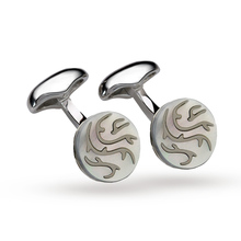 Babette Wasserman Rhodium Plated Thorn Cufflinks Mother of Pearl
