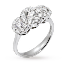 Ponte Vecchio Artemide Brilliant Cut Diamond Cluster Trilogy Ring in 18 Carat White Gold