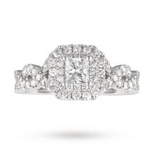 Vera Wang Love Princess Cut 0.95 Total Carat Weight Cluster and Diamond Set Shoulders Ring in Platinum
