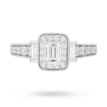Vera Wang Love Emerald Cut 0.95 Carat Total Weight Solitaire Diamond Ring with Diamond Set Shoulders in Platinum