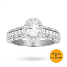 Vera Wang Love Oval Cut 0.95 Carat Total Weight Solitaire Diamond Ring with Diamond Set Shoulders in Platinum