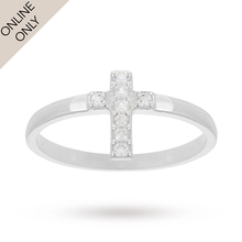Silver Cubic Zirconia Cross Ring - Ring Size Medium