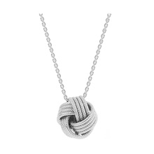 Italian Silver Frosted Love Knot Pendant