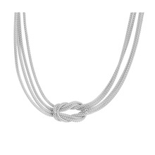 Italian Silver Central Knot Mesh Necklace