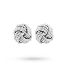 Italian Silver Plated Frosted Love Knot Earrings