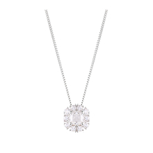 Sterling Silver Cubic Zirconia Cushion Cut Halo Pendant