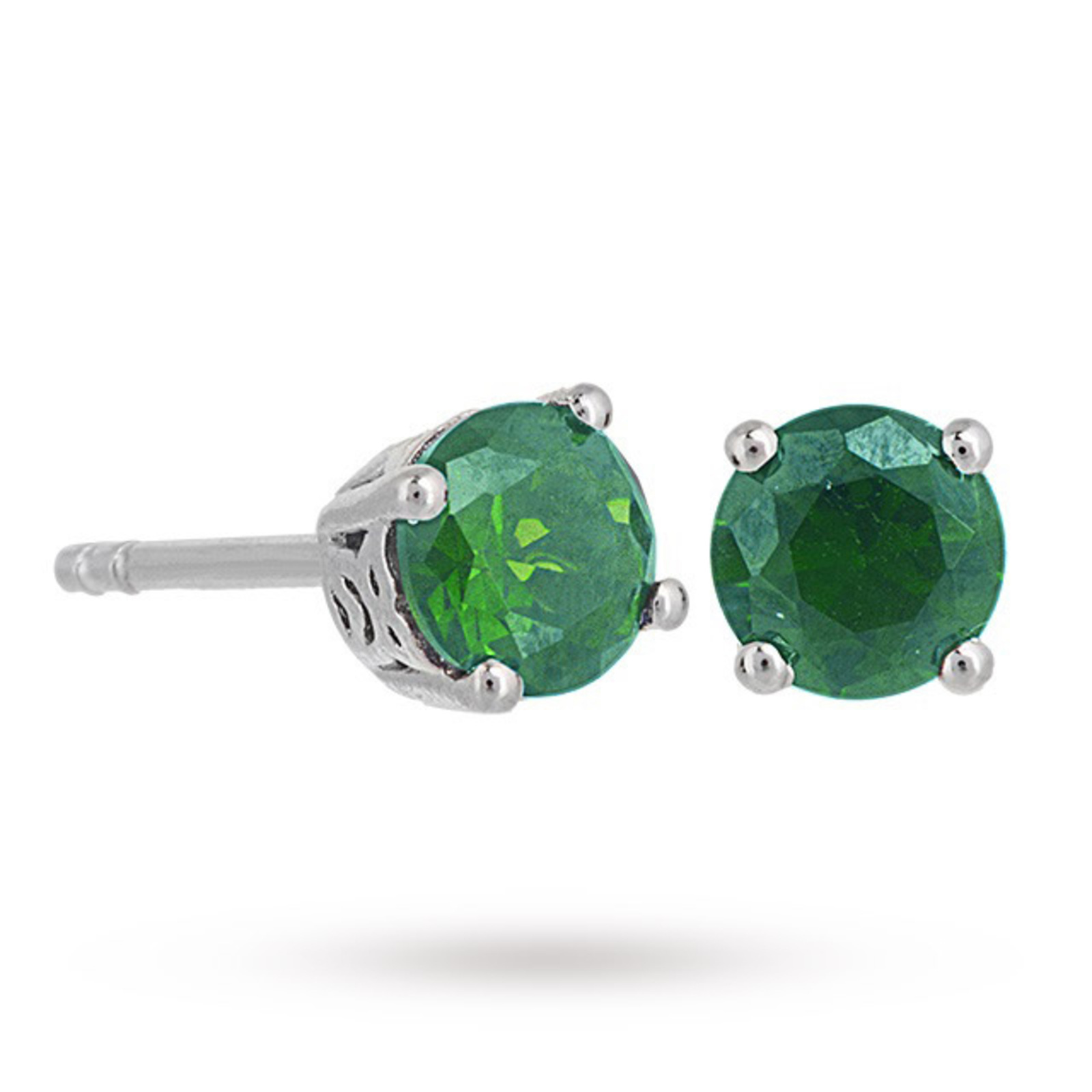 Sterling Silver Emerald Green Coloured Cubic Zirconia Stud Earrings
