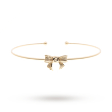 Ted Baker Jewellery Ladies' PVD Gold Plated Gynia Grosgrain Bow Ultra Fine Cuff