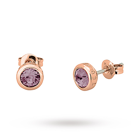 For Her - Exclusive Rose Gold Sina Purple Stud Earrings - TBJ1084-24-263
