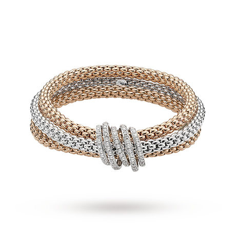 FOPE 18ct Three Colour Solo Mialuce Flex'It 0.43ct Diamond Bracelet