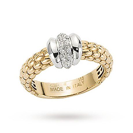 Fope Flex It Solo Diamond Ring in 18ct Yellow Gold