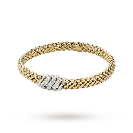FOPE 18ct Yellow Gold Vendome Flex'It 0.38ct Diamond Bracelet