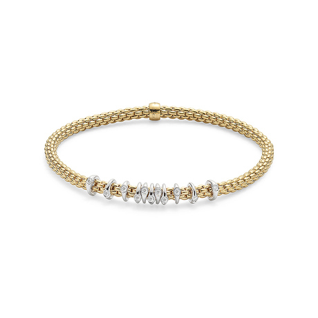 Fope 18ct Yellow Gold Flex'it Prima Eyes Bracelet