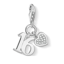 Thomas Sabo Jewellery Ladies' Sterling Silver Charm Club Lucky Number 16 Charm