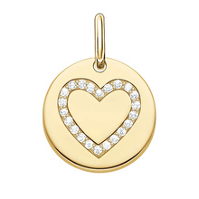 Thomas Sabo Love Coins Gold Plated Heart Disc Pendant Lbpe0005-414-14