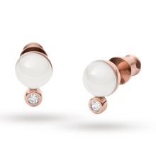 Skagen Ladies' Rose Gold Pearl Earrings