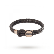 Emporio Armani Leather and Rose Gold Tone Men's Bracelet