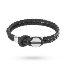 Emporio Armani Mens Signature Black Leather Bracelet EGS2178040