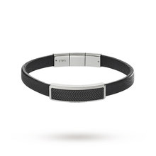 Emporio Armani Mens Signature Black Leather Bracelet EGS2229001