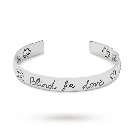 Gucci Exclusive Blind For Love Silver 9mm Bangle