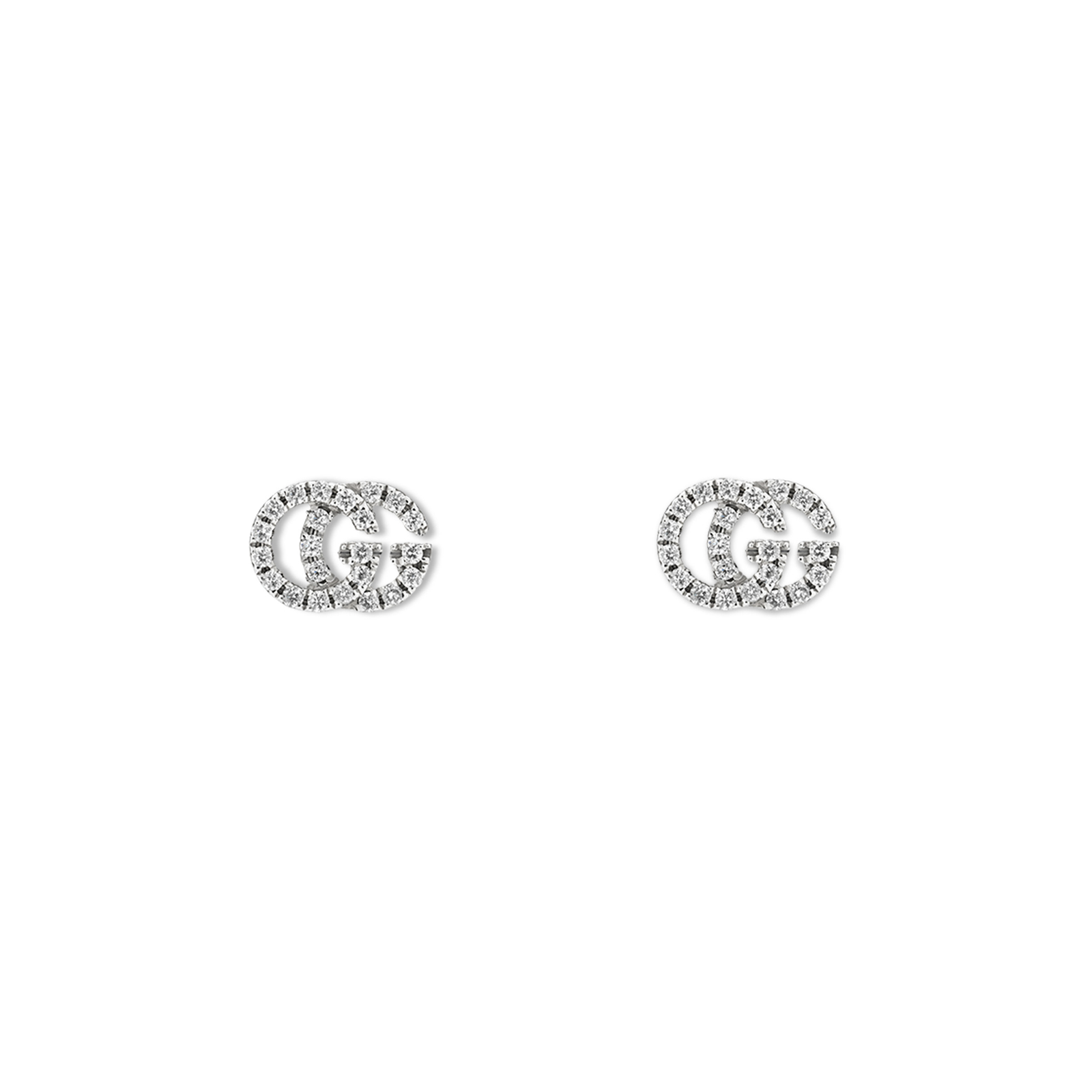 Gucci Running G Pave 18ct White Gold Diamond Stud Earrings
