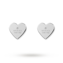 Gucci Trademark Heart Sterling Silver Stud Earring