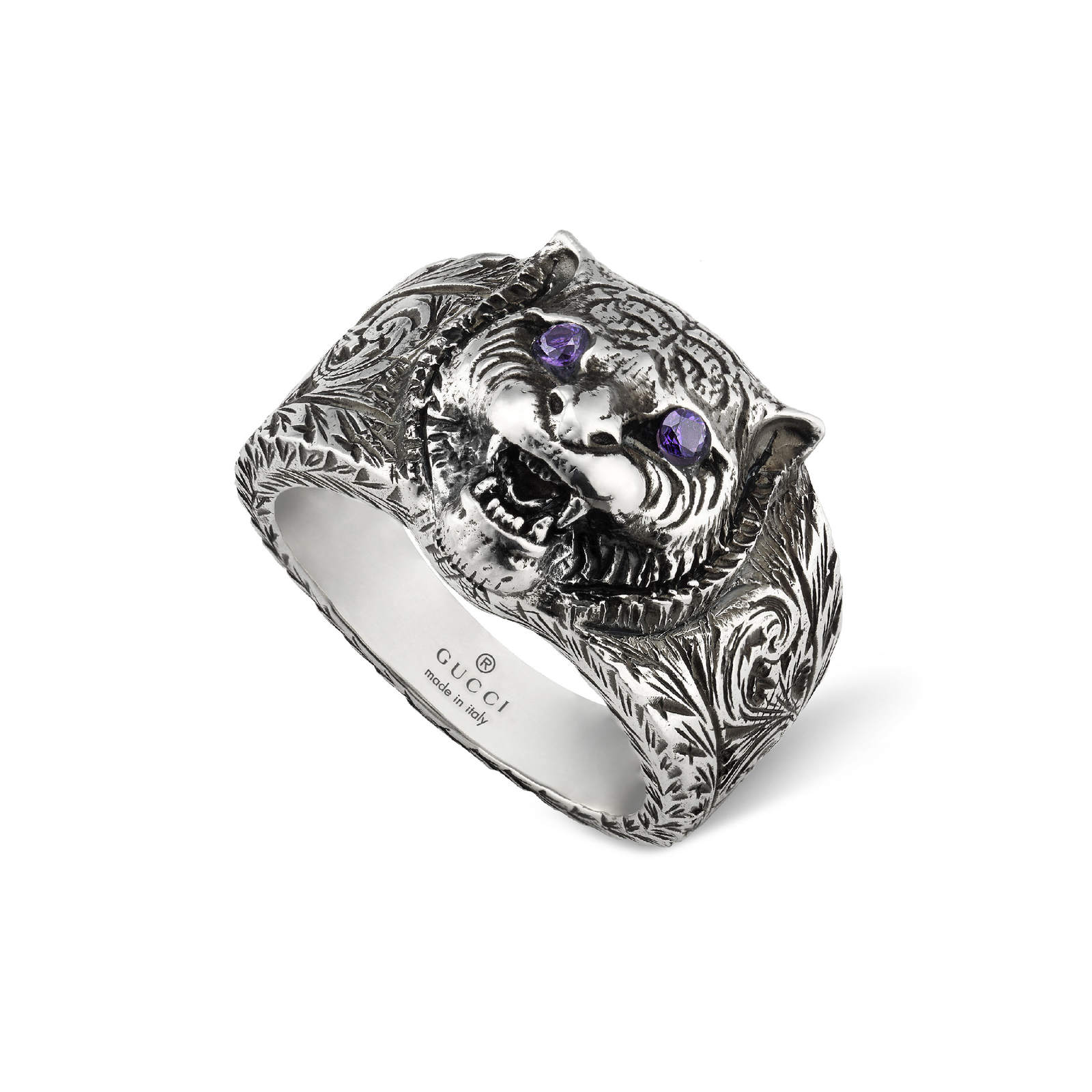 Gucci Running G Silver Tiger Head Ring - Ring Size P